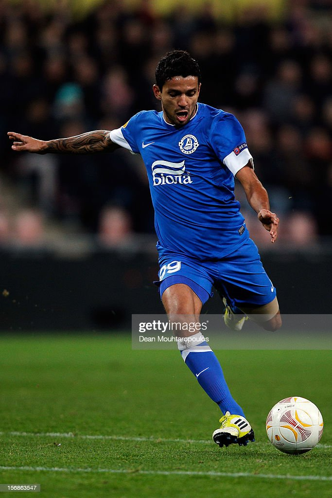 Nascimento Leite Matheus of Dnipro shoots on goal during the UEFA Europa League Group F match between PSV Eindhoven and FC Dnipro Dnipropetrovsk at the Philips Stadion n November 22, 2012 in Eindhoven, Netherlands.
