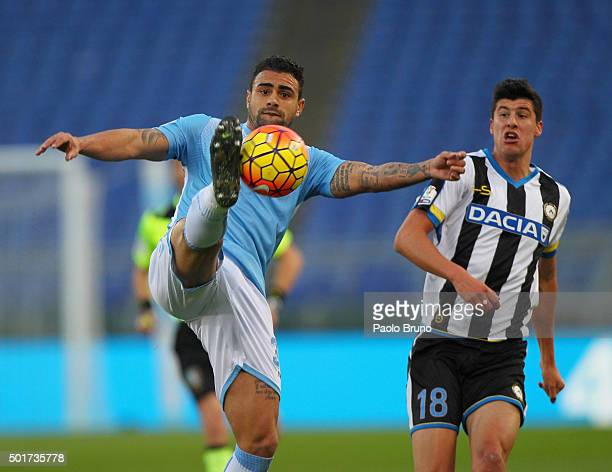Nascimento Mauricio Dos Santos of SS Lazio competes for the ball with Stipe Perica of Udinese Calcio during the TIM Cup match between SS Lazio and...