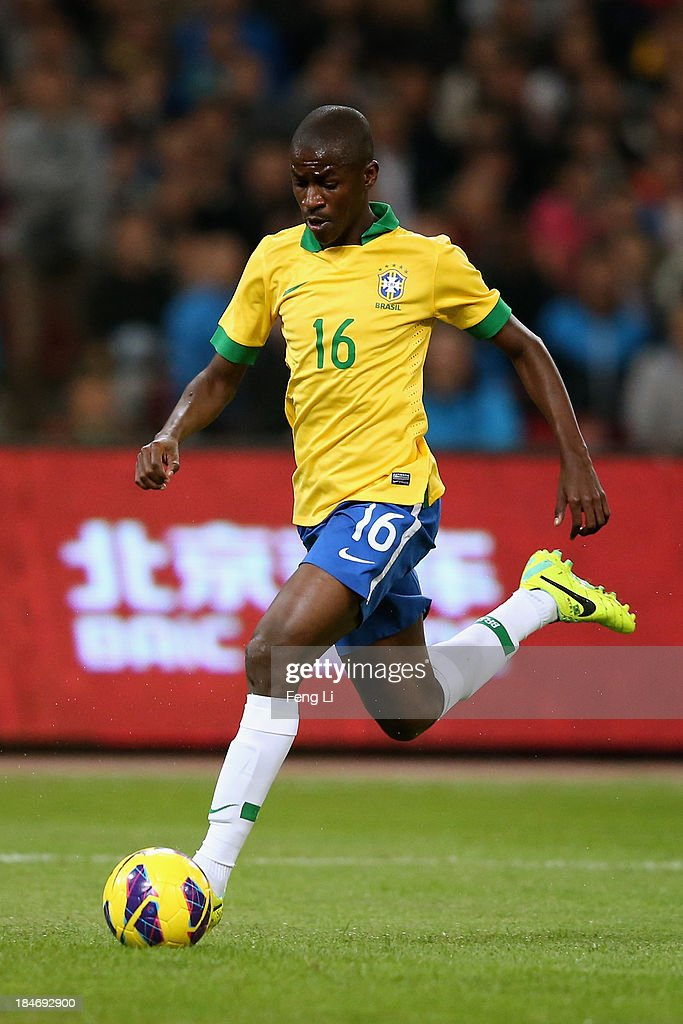 Nascimento Ramires of Brazil in action during the international friendly match between Brazil and Zambia at Beijing National Stadium on October 15, 2013 in Beijing, China.