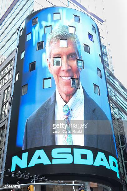 Nasdaq display of Michal Buffer at the closing bell of the NASDAQ MarketSite on July 25 2014 in New York City