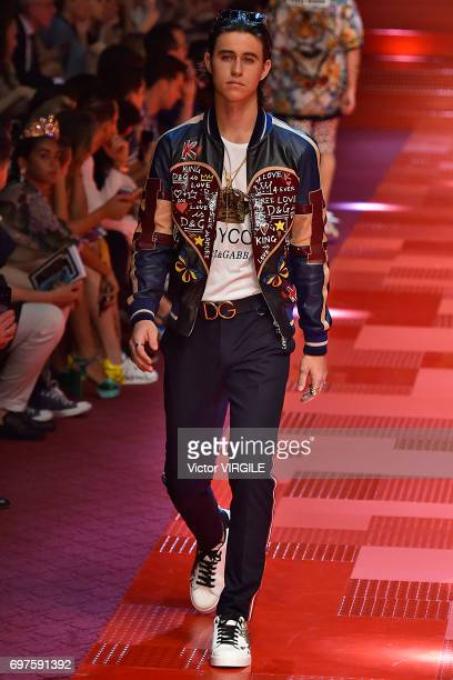 Nash Grier walks the runway at the Dolce Gabbana show during Milan Men's Fashion Week Spring/Summer 2018 on June 17 2017 in Milan Italy