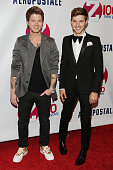 Nash Overstreet and Ryan Follese of Hot Chelle Rae attend Z100's Jingle Ball 2012 presented by Aeropostale at Madison Square Garden on December 7...