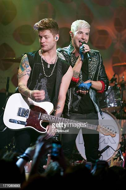 Nash Overstreet and Ryan Follese of Hot Chelle Rae perform at a 'Crazy Good VMA Concert Event' presented by MTV and Pop Tarts at Music Hall of...