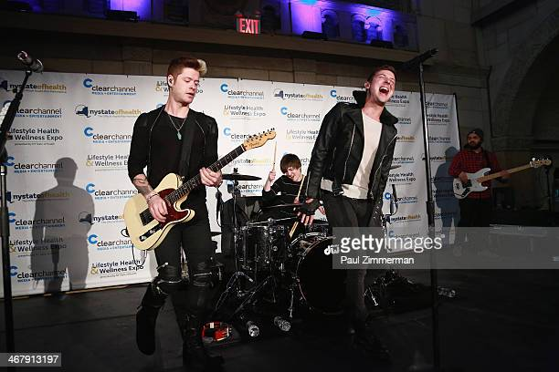 Nash Overstreet Ryan Follese and Jamie Follese of Hot Chelle Rae perform at the Clear Channel Media Entertainment New Yorks FIRST ANNUAL Lifestyle...