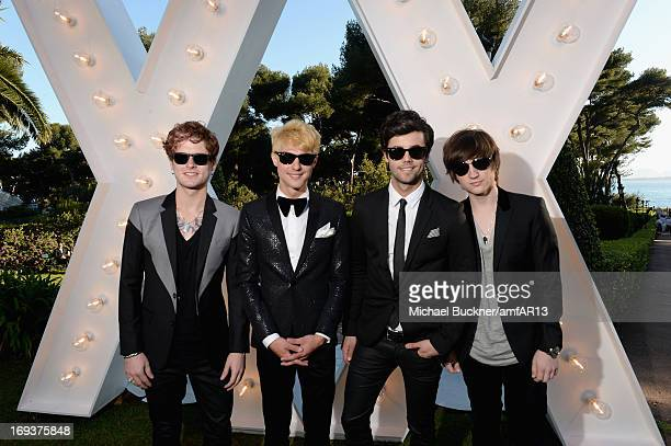 Nash Overstreet Ryan Follese Ian Keaggy and Jamie Follese of Hot Chelle Rae attend amfAR's 20th Annual Cinema Against AIDS during The 66th Annual...
