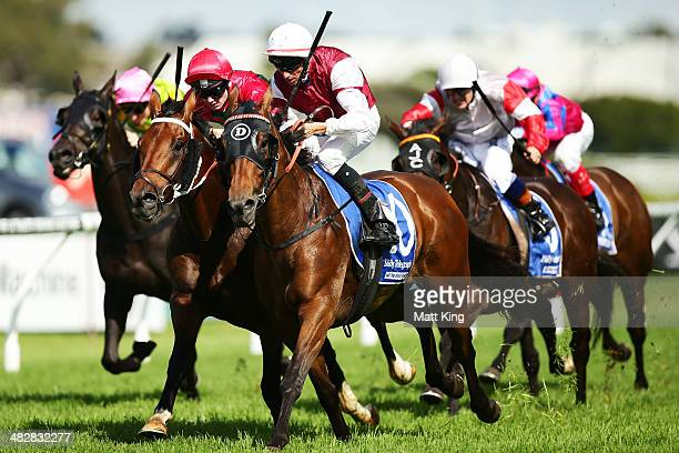 Nash Rawiller riding Gallatin wins rrace 5 the Nathan Berry Tulloch Stakes during Golden Slipper Day at Rosehill Gardens on April 5 2014 in Sydney...