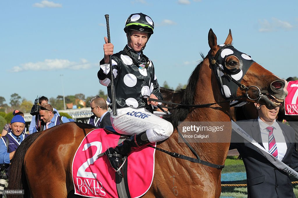<a gi-track='captionPersonalityLinkClicked' href=/galleries/search?phrase=Nash+Rawiller&family=editorial&specificpeople=223869 ng-click='$event.stopPropagation()'>Nash Rawiller</a> riding Solzhenitsyn after winning the David Jones NBCF Toorak Handicap during Melbourne Racing at Caulfield Racecourse on October 12, 2013 in Melbourne, Australia.