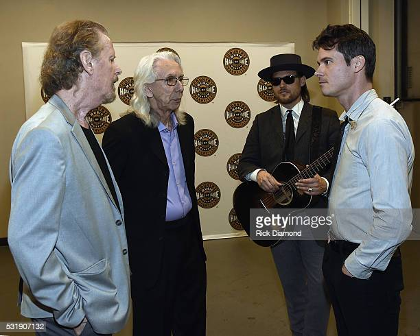 Nashville Cats Mac Gayden and Wayne Moss chat with OCMS's Ketch Secor backstage beforwe Old Crow Medicine Show Celebrates 50th Anniversary of Bob...