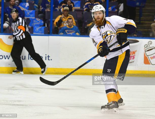 Nashville defenseman Ryan Ellis passes the puck during game five of the second round of the Stanley Cup Playoffs between the Nashville Predators and...