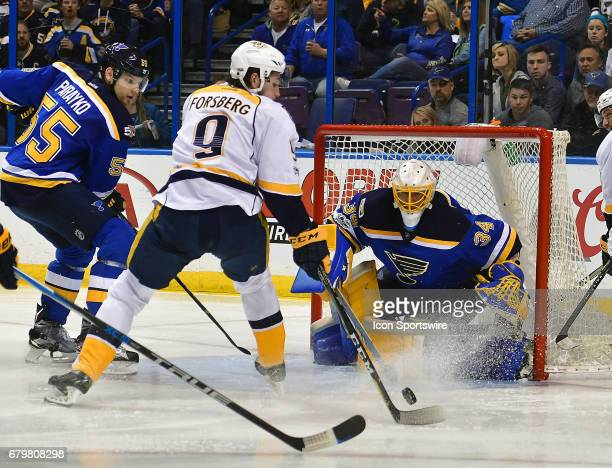 Nashville leftwing Filip Forsberg gets set to take a shot against St Louis Blues goalie Jake Allen in the third period during game five of the second...