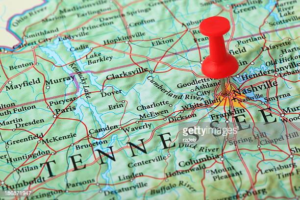 Mapa de Nashville, Tennessee USA
