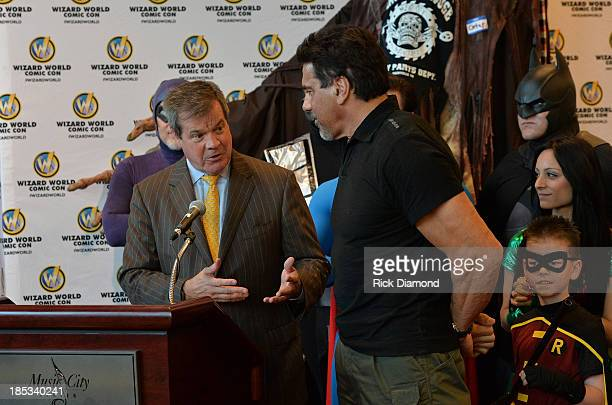Nashville Mayor Karl Dean and Actor Lou Ferrigno attends Nashville Comic Con 2013 at Music City Center on October 18 2013 in Nashville Tennessee