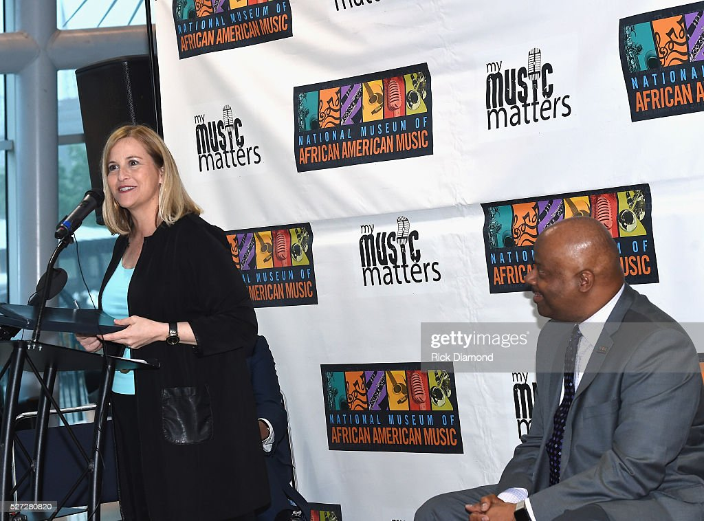 Nashville Mayor Megan Barry and H. Beecher Hicks III, NMAAM president and CEO attend NMAAM National Chairs And Fundraising Progress Press Conference at Nashville Vistor Center on May 2, 2016 in Nashville, Tennessee.