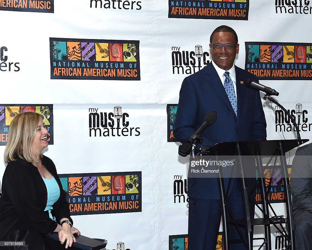 Nashville Mayor Megan Barry and Kevin P. Lavender NMAAM Board/Fifth Third Bank attend NMAAM National Chairs And Fundraising Progress Press Confrence at Nashville Vistor Center on May 2, 2016 in Nashville, Tennessee.