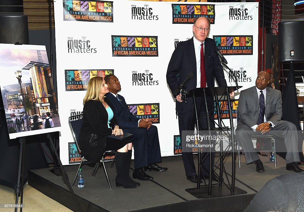 Nashville Mayor Megan Barry, Kevin P. Lavender NMAAM Board/Fifth Third Bank, State Senator Steve Dickerson and H. Beecher Hicks III, NMAAM President and CEO attend NMAAM National Chairs And Fundraising Progress Press Confrence at Nashville Vistor Center on May 2, 2016 in Nashville, Tennessee.