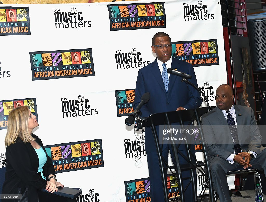 Nashville Mayor Megan Barry, Kevin P. Lavender NMAAM Board/Fifth Third Bank and H. Beecher Hicks III, NMAAM President and CEO attend NMAAM National Chairs And Fundraising Progress Press Confrence at Nashville Vistor Center on May 2, 2016 in Nashville, Tennessee.