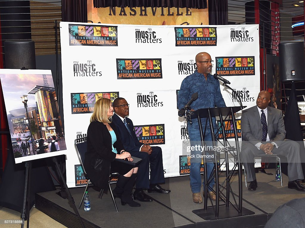 Nashville Mayor Megan Barry, Kevin P. Lavender NMAAM Board/Fifth Third Bank, Singer/Songwriter/NMAAM National Chairperson <a gi-track='captionPersonalityLinkClicked' href=/galleries/search?phrase=Darius+Rucker&family=editorial&specificpeople=215161 ng-click='$event.stopPropagation()'>Darius Rucker</a> and H. Beecher Hicks III, NMAAM President and CEO attend NMAAM National Chairs And Fundraising Progress Press Confrence at Nashville Vistor Center on May 2, 2016 in Nashville, Tennessee.