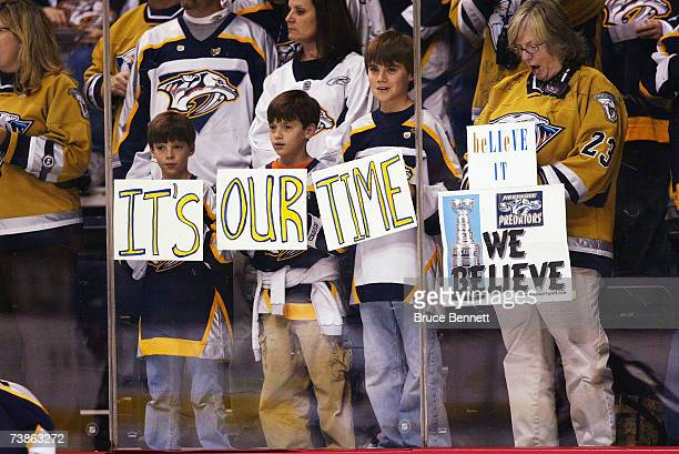 Nashville Predator fans greet their team prior to a game against the San Jose Sharks during the 2007 Western Conference Quarterfinals game on April...