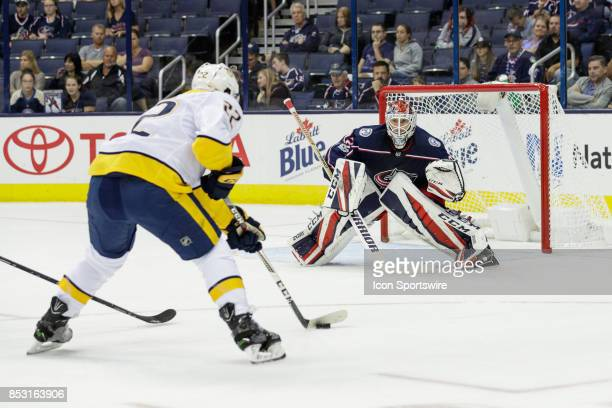Nashville Predators center Kevin Fiala approaches the goal while Columbus Blue Jackets goalie Sergei Bobrovsky defends in the first period of a...