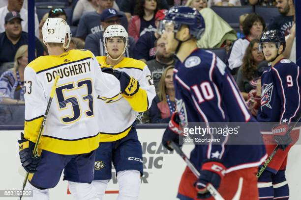 Nashville Predators center Kevin Fiala celebrates after scoring a goal in the first period of a Preseason game between the Columbus Blue Jackets and...