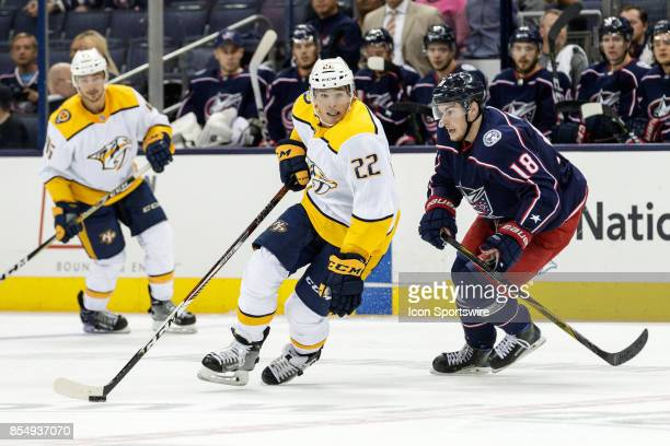 Nashville Predators center Kevin Fiala controls the puck in the first period of a Preseason game between the Columbus Blue Jackets and the Nashville...