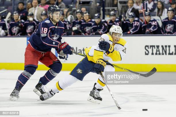 Nashville Predators center Kevin Fiala drives toward the goal in the second period of a Preseason game between the Columbus Blue Jackets and the...