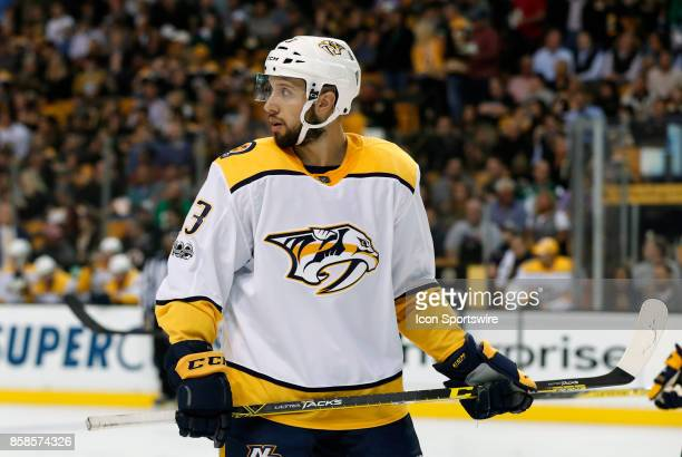 Nashville Predators center Nick Bonino looks back to the point prior to a face off on the power play during an NHL game between the Boston Bruins and...