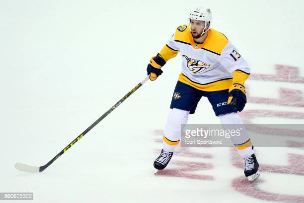 Nashville Predators Center Nick Bonino skates during the third period in the NHL game between the Pittsburgh Penguins and the Nashville Predators on...