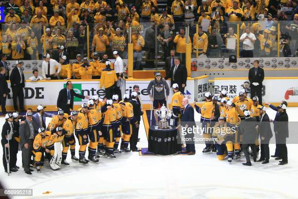Nashville Predators center Ryan Johansen joins his teammates for the Campbell Bowl trophy presentation following Game 6 of the Western Conference...