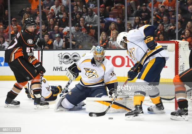 Nashville Predators Defenceman PK Subban assists on the save on a shot by Anaheim Ducks Winger Rickard Rakell during game 2 of the 2017 NHL Western...