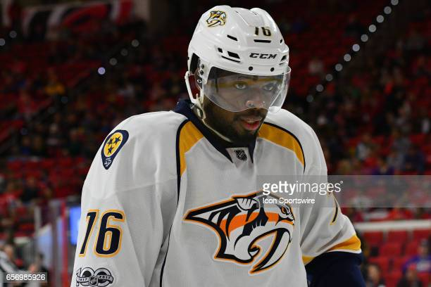 Nashville Predators Defenceman PK Subban skates in for a face off in a game between the Nashville Predators and the Carolina Hurricanes at the PNC...