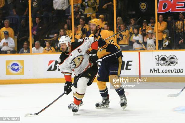 Nashville Predators defenseman Mattias Ekholm and Anaheim Ducks center Ryan Getzlaf battle for position during Game 6 of the Western Conference Final...