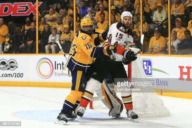 Nashville Predators defenseman PK Subban and Anaheim Ducks center Ryan Getzlaf battle for position in front of Nashville Predators goalie Pekka Rinne...