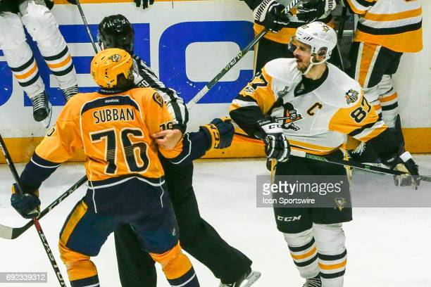 Nashville Predators defenseman PK Subban and Pittsburgh Penguins center Sidney Crosby argue following game 3 of the 2017 NHL Stanley Cup Finals...