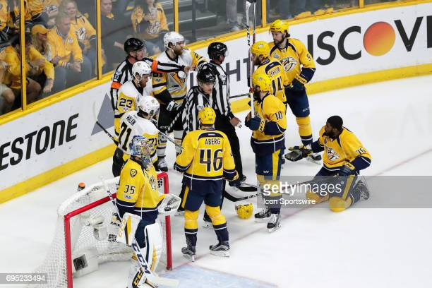 Nashville Predators defenseman PK Subban complains to referee as other players look on during game 6 of the 2017 NHL Stanley Cup Finals between the...