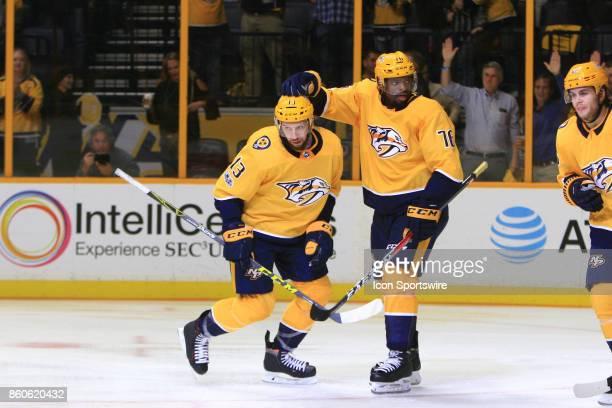 Nashville Predators defenseman PK Subban congratulates Nashville Predators center Nick Bonino on his goal during the NHL game between the Nashville...