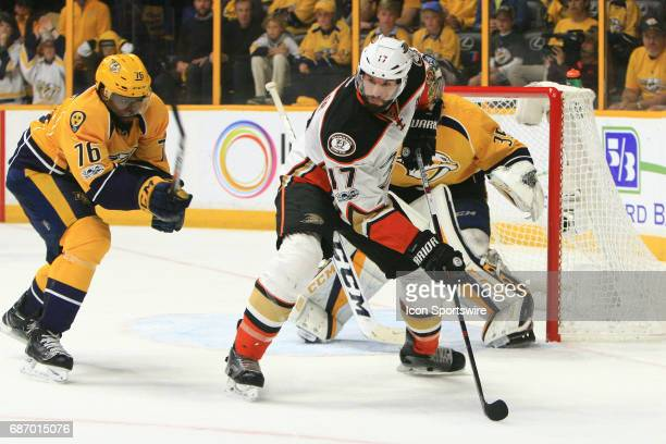 Nashville Predators defenseman PK Subban defends against Anaheim Ducks center Ryan Kesler during Game 6 of the Western Conference Final between the...