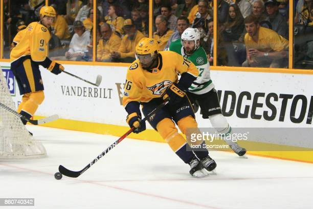 Nashville Predators defenseman PK Subban is pursued by Dallas Stars right wing Alexander Radulov during the NHL game between the Dallas Stars and the...