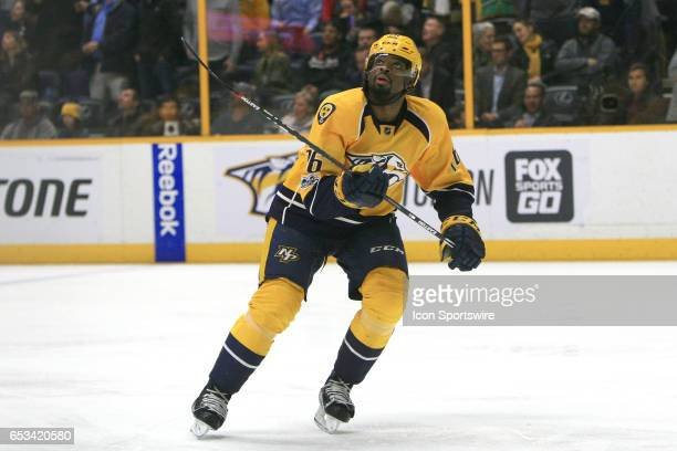 Nashville Predators defenseman PK Subban is shown during the NHL game between the Nashville Predators and the Winnipeg Jets held on March 13 at...
