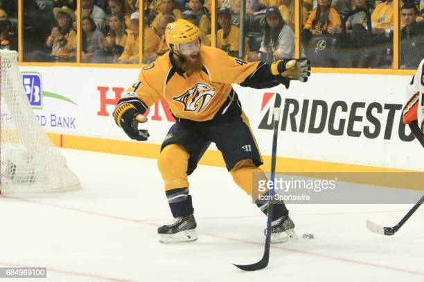 Nashville Predators defenseman Ryan Ellis drops his stick after being slashed by Anaheim Ducks right wing Corey Perry during Game Four of the Western...