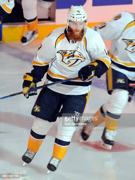 Nashville Predators defenseman Ryan Ellis on the ice before the start of game 1 of the 2017 NHL Western Conference Final against the Anaheim Ducks on...