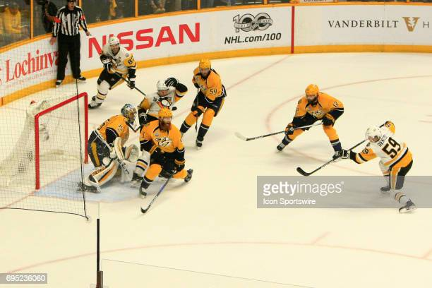 Nashville Predators defenseman Ryan Ellis reacts following the shot by Pittsburgh Penguins center Jake Guentzel during Game 6 of the Stanley Cup...