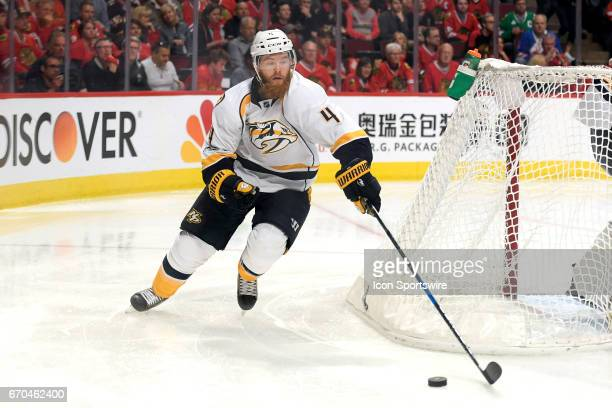 Nashville Predators defenseman Ryan Ellis skates with the puck in the third period during game 2 of the first round of the 2017 NHL Stanley Cup...