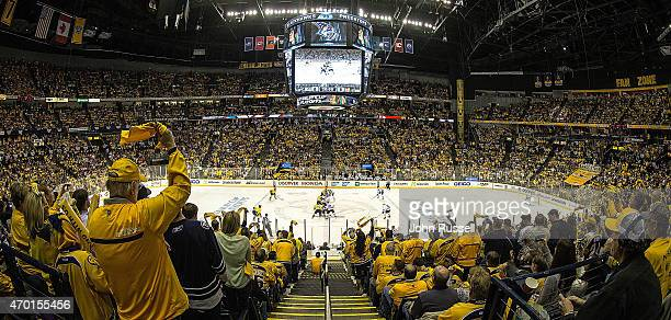 Nashville Predators faceoff against the Chicago Blackhawks in Game Two of the Western Conference Quarterfinals during the 2015 NHL Stanley Cup...