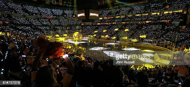 Nashville Predators fans are ready to kickoff the season against Chicago Blackhawks during an NHL game at Bridgestone Arena on October 14 2016 in...