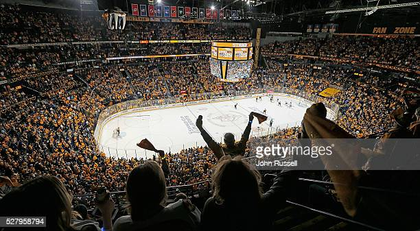 Nashville Predators fans celebrate a 41 win against the San Jose Sharks in Game Three of the Western Conference Second Round during the 2016 NHL...