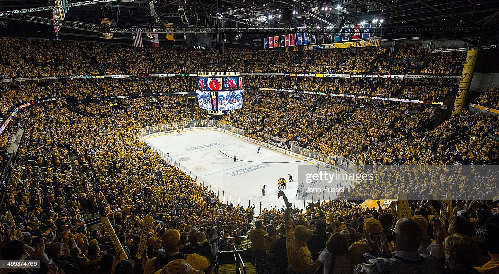 Nashville Predators fans celebrate a goal against the Chicago Blackhawks in the first period of Game One of the Western Conference Quarterfinals during the 2015 NHL Stanley Cup Playoffs at Bridgestone Arena on April 15, 2015 in Nashville, Tennessee.