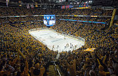 Nashville Predators fans celebrate a goal against the Chicago Blackhawks in the first period of Game One of the Western Conference Quarterfinals...