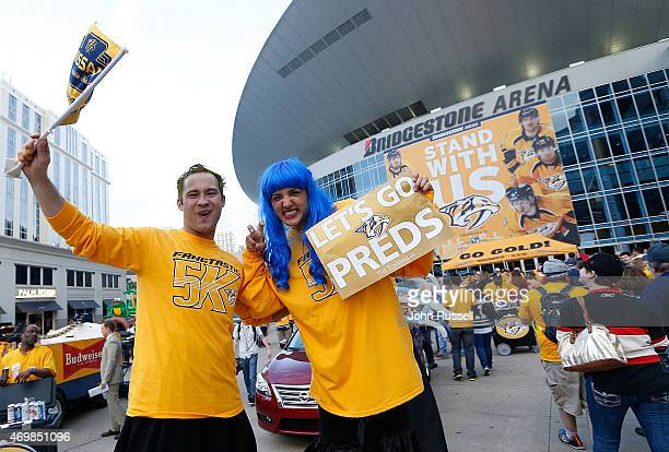 Nashville Predators fans show their spirit at the plaza party outside Bridgestone Arena prior to Game One of the Western Conference Quarterfinals...