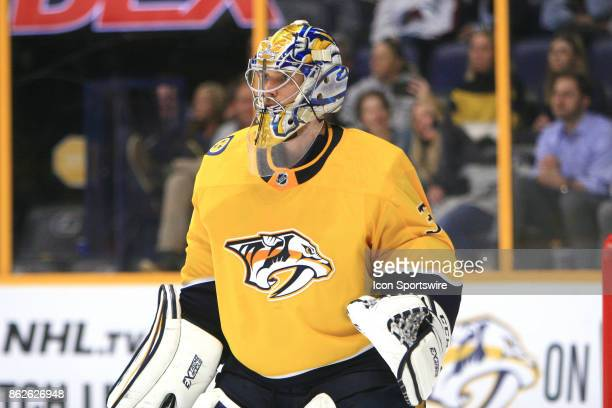 Nashville Predators goalie Pekka Rinne is shown during the NHL game between the Nashville Predators and the Colorado Avalanche held on October 17 at...
